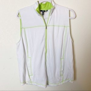Chaps Lime & White Zip Up Collared Vest